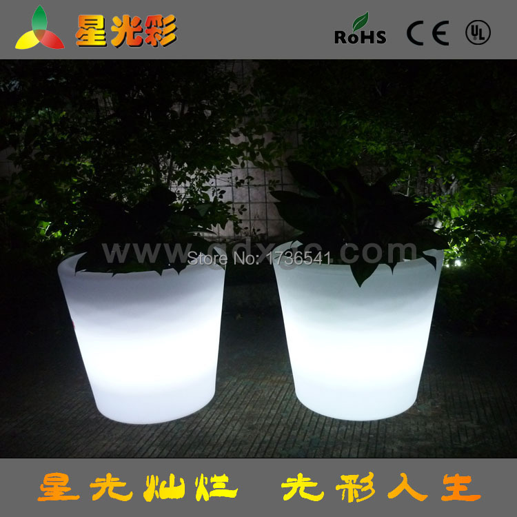 LED light factory direct creative home office flowerpot PE Rotational remote Colorful LED decorative flower pots(China (Mainland))