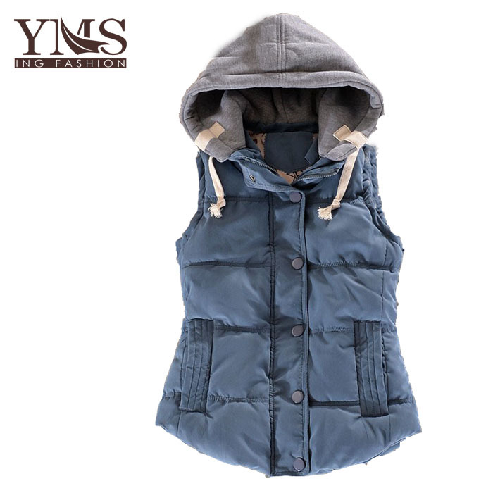 Woman &Man Plus Size M - 6XL Winter Down Cotton-Padded Vest Jacket For Couple Slim Thermal Cotton Velvet  With Hood Waistcoat