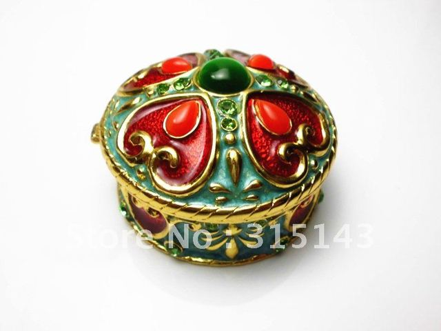Wholesale(90pcs Pack)-2012 new flower & Incense burner bronze plated Round sharp pewter Alloy metal jewelry box