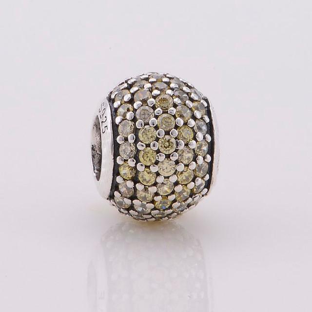 Стерлингового серебра 925 ювелирные изделия проложить CZ камни круглый шарм приспосабливать европейские браслеты женщин DIY ювелирных продвижение