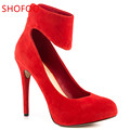 shofoo shoes 2016 new free shipping elegant suede shoes pointed toe pumps high heel shoes women