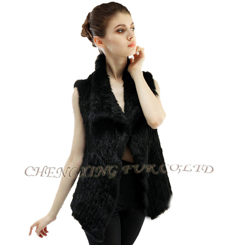 CX-G-B-38F 2015 New Fashion Hot Style Ladies Knitted Real Rabbit Fur Vest