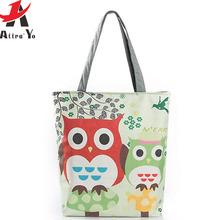 ATTRA-YO Women Canvas Bag Cute Owl Printed Tote Shopping Bags Large capacity Travel single Shoulder bag beach Bags LM4372ay2(China (Mainland))