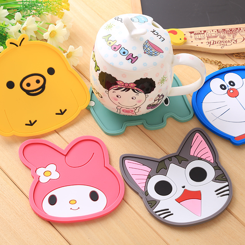 Cute Chis cat melody doraemon tableware silicone Coaster coffee drink cup glass beverage bottles cup mat table heat Resistant(China (Mainland))