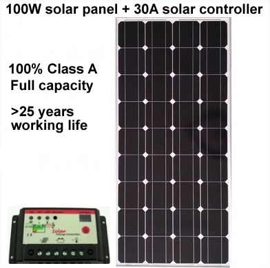 100W monocrystalline solar panel + 30A solar controller, MC4 connectors and junction box for 12v battery direct charging(China (Mainland))