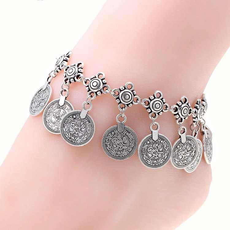 Coin anklet cavigliera donna ankle bracelet jewelry silver barefoot ankle bracelets for women bracelet chaine cheville femme(China (Mainland))