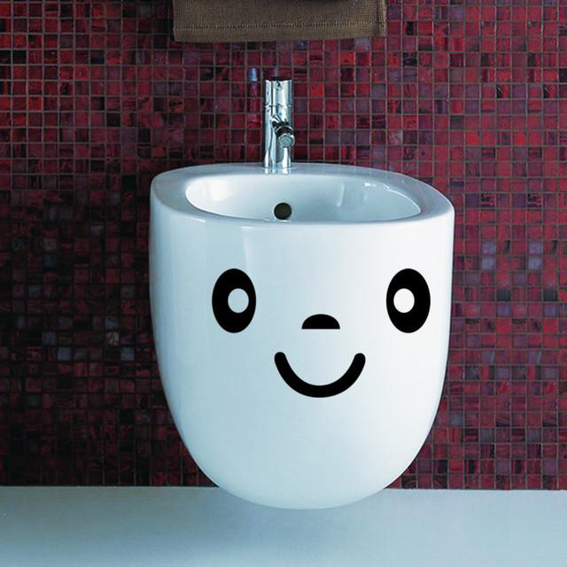 Улыбающееся лицо туалет наклейки ванная комната для стен декоративные украшения дома DIY сменные наклейки виниловые обои 306