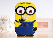 Hot Sale New Arrival Cute Cartoon Model Despicable Me Yellow Minion Silicon Material Case Stand Cover For ipad Air 5 Ipad 5(China (Mainland))