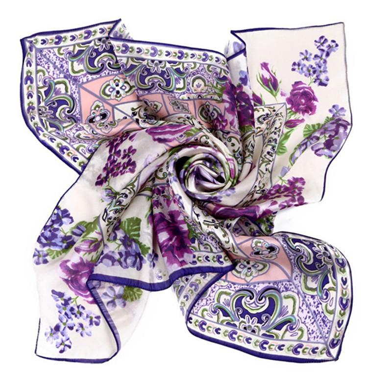 LING/Real 100% Pure Silk Scarf Square,Fashion Printing Blue&White Porcelain pashmina,China Ethnic pattern Shawls And Hijabs/9011(China (Mainland))