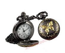 Free shipping 40pcs/lot Classic Gold Butterfly Women Necklace Pocket Watch Xmas Gifts
