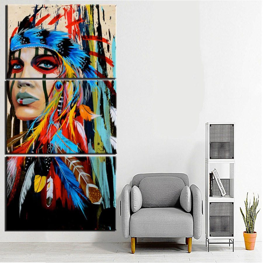Beauty art Canvas Painting Native American Indian Girl Feathered Modern Home Wall Art Decor Print dropshipping and custom