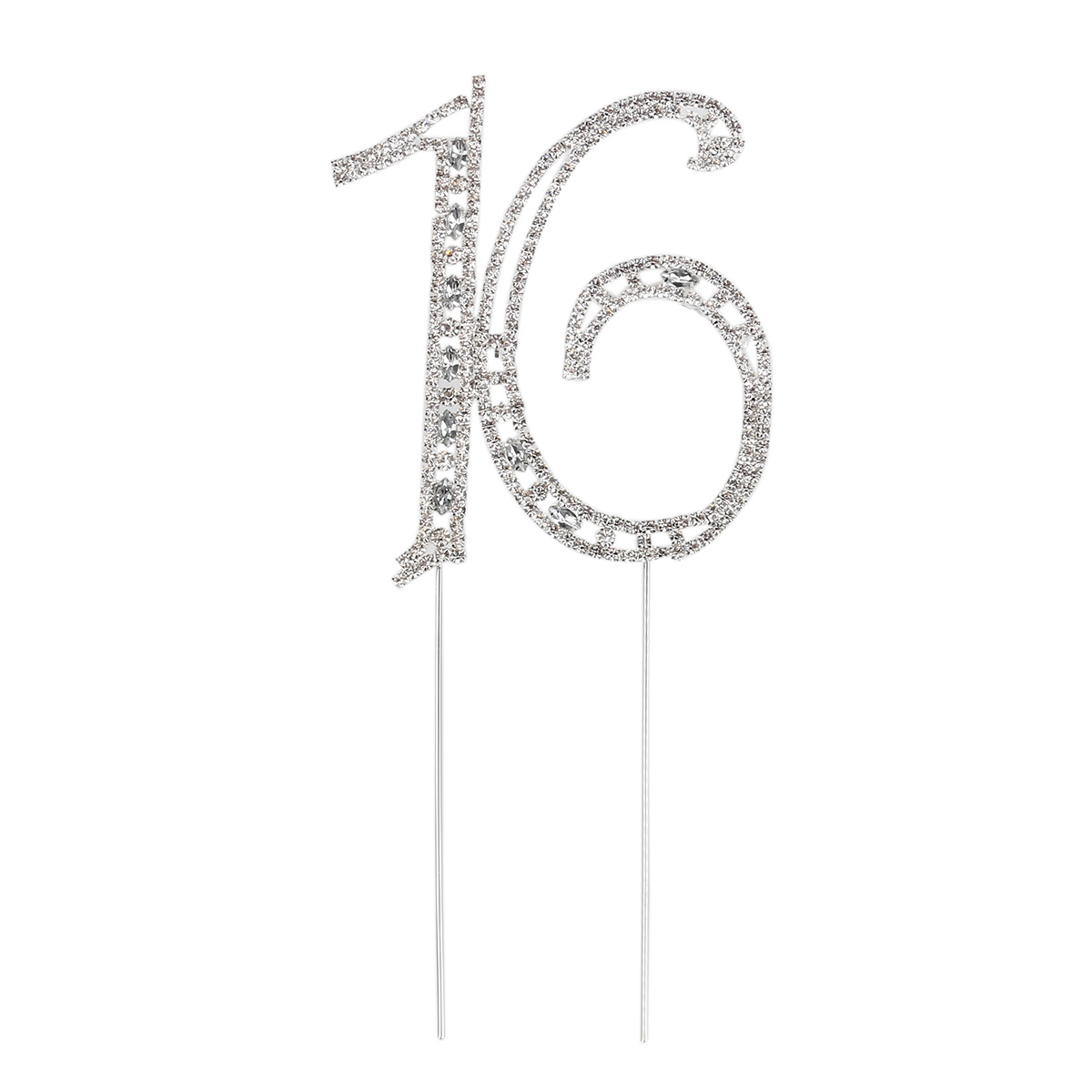 Rhinstone Decorated Cake Topper for 16th Wedding Anniversary / Birthday Party (Silver)(China (Mainland))