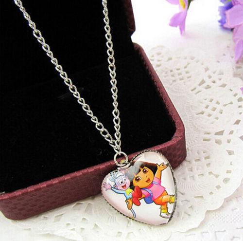 Lot 10 Pcs Popular Dora Children Heart shape pendant necklace Sweater chain L217(China (Mainland))