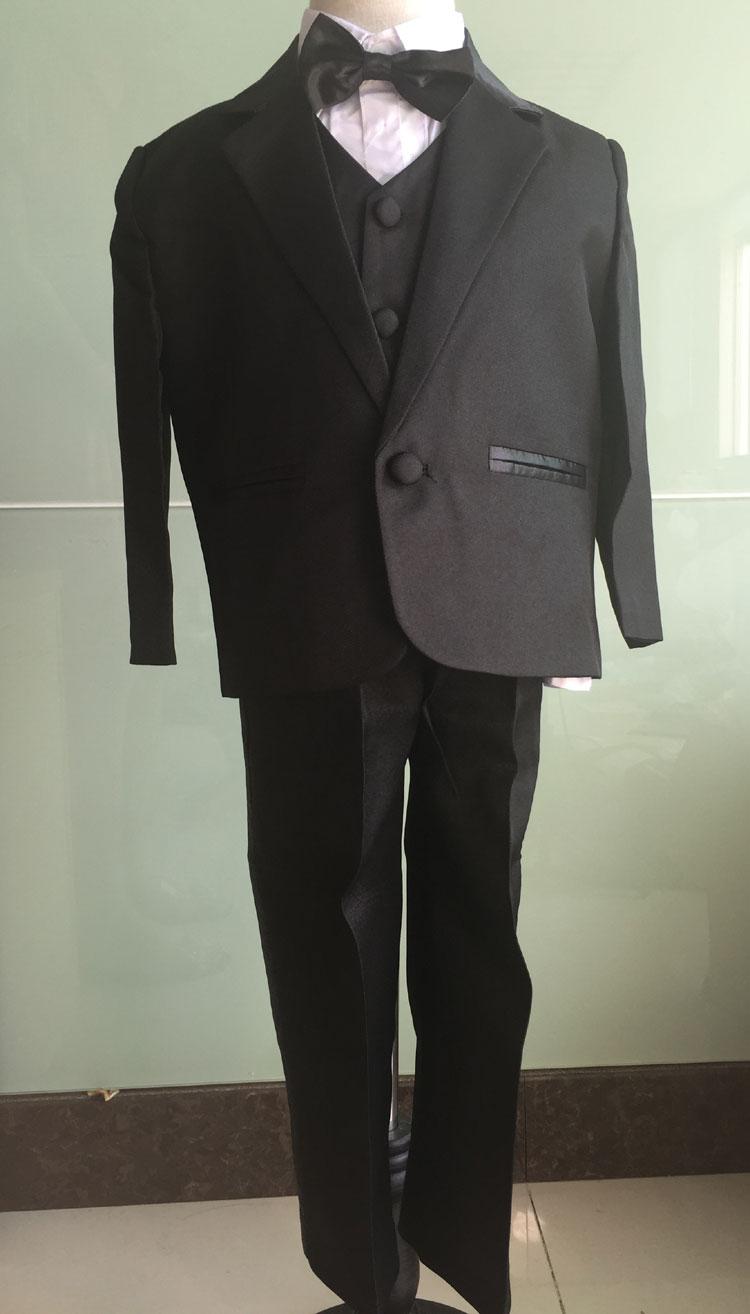 Kids/Children Black Formal Boys Wedding/Tuxedo Suits Boy Blazer Suit Mariages/Perform Dress Costume Infants Blazer 5 pcs/set(China (Mainland))