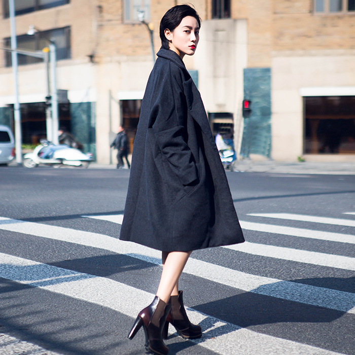 2015 Winter New Europen American Style Fashion Women Wool Coat Long Sleeve Lapel Cardigan Solid Color Loose Plus Size Wool Coat(China (Mainland))
