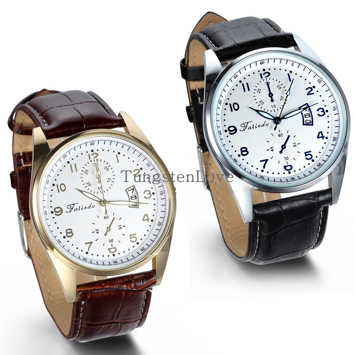2015 new Business Quartz watch Men Dress Watches Brown & Black Leather Strap wristwatch Auto Date Display Two Dials reloj hombre - Tungsten Love Jewelry Store store