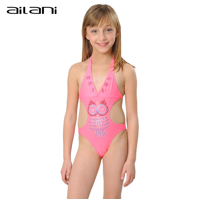 Solid Swimsuit 2016 New One Piece Swimwear Girls Lovely Sequins Swim Suit Kids Girls Beach Swimming Wear CL133(China (Mainland))