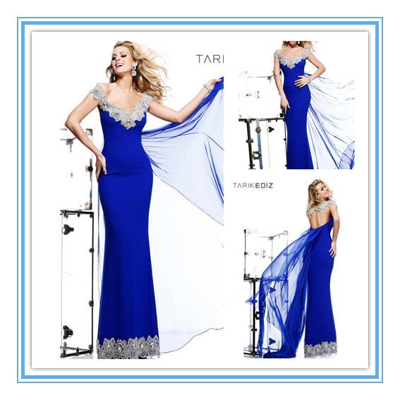 Fashion Royal Blue Applique Beads Backless Sexy Lebanese Evening Dresses(EVTA-1003)(China (Mainland))