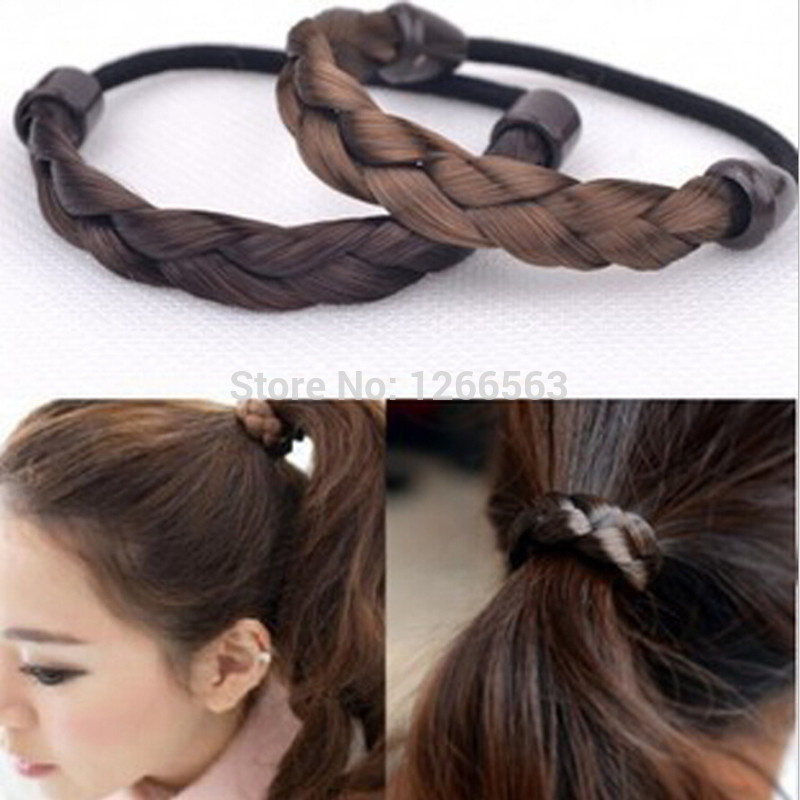 korean Popular Wig Hair Band Braid Hair accessories,Synthetic Wig Hair Rope Tie Ponytail Elastic Hair Rope Hairband(China (Mainland))