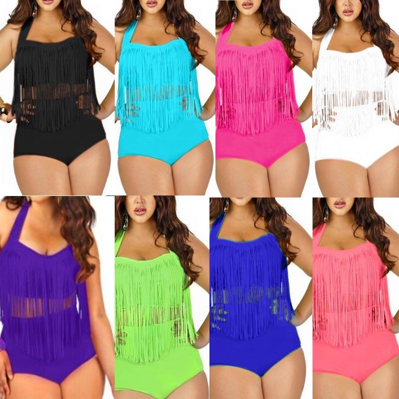 Plus Size Swimwear Bikini Set Sexy Women High Waist Swimsuit Tassel Swimwear Bikini Push Up Biquinis Trajes De Bano Size 4XL(China (Mainland))