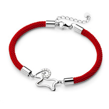 animal year Zodiac sheep sheep love fashion bracelet in weaving rope 925 Sterling Silver Bracelet explosion of red rope