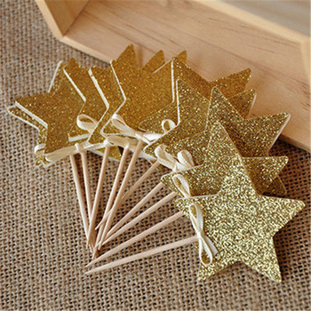 10Pcs 8Colourful Star Happy Birthday wedding Cake Topper Baby Shower Party event Christmas Cake Decoration party supplies