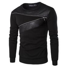 Plus Size Leather Patchwork Hoodies Men Zipper Decoration Long Sleeve Sweatshirt Tops Men's Leisure Hoodie Clothes YA355(China (Mainland))