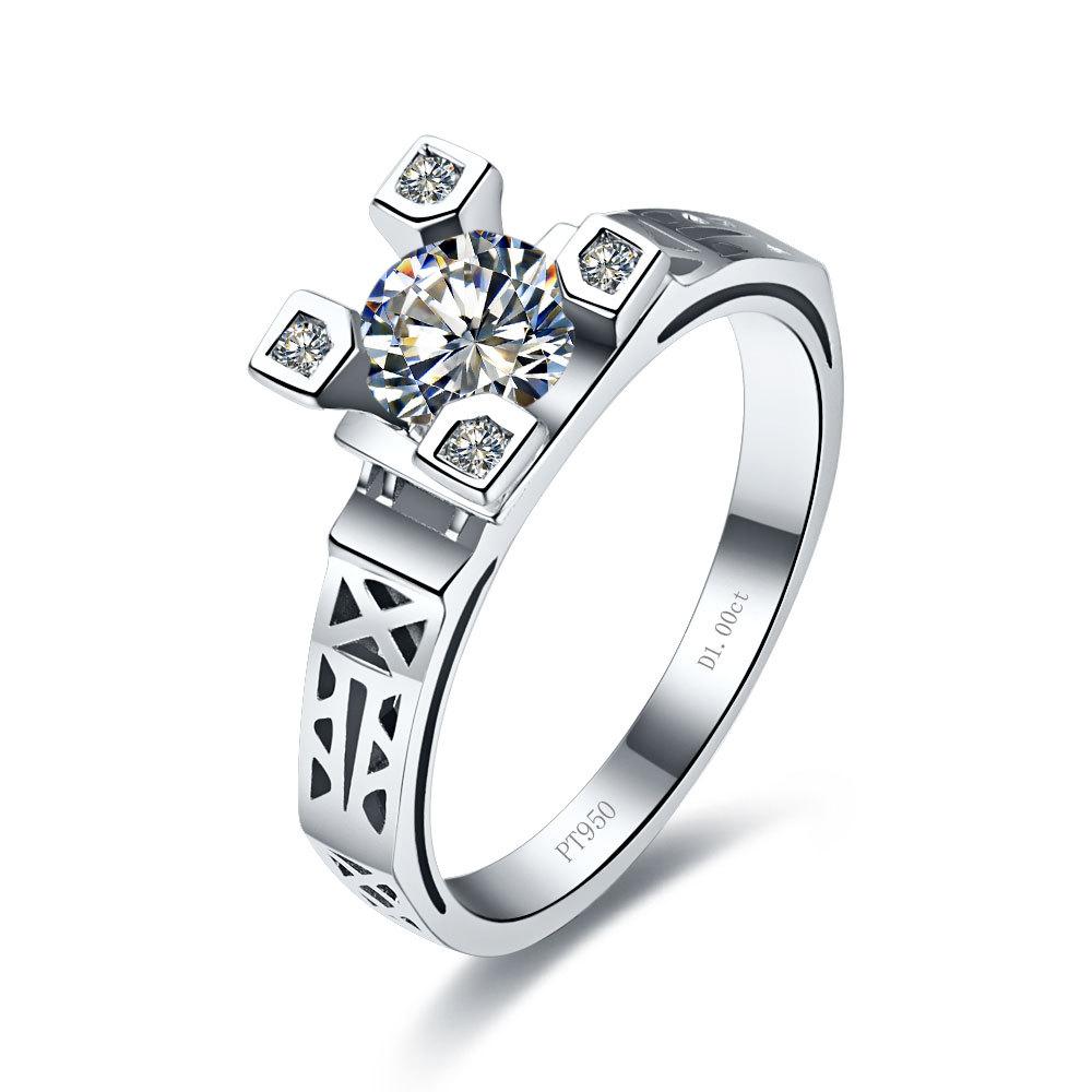Eiffel 1 carat Luxury Quality 14K White Gold synthetic Diamond Engagement Ring Sets For Women(China (Mainland))