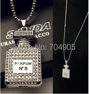 Fashion Brand Design Sliver Plated Long Elegant Perfume bottles Pendant Necklace For Woman 2015 Statement Jewelry wholesale(China (Mainland))