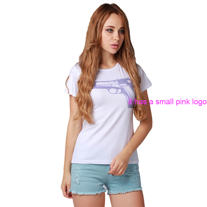 2016 New Arrival Summer Girl Gun Printed T Shirt Women White Short Sleeve Fashion Casual Printed Tops Tees HO850557(China (Mainland))