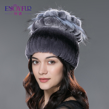 Sale 2016 winter beanies fur hat  for women knitted rex rabbit fur hat with fox fur flower top free size casual women's hat(China (Mainland))