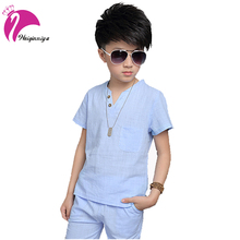 Buy New 2017 Summer Boys Clothing Set Fashion Linen Tops+Casual Pants 2 Pieces Suit Solid Children Brand Sports Tracksuits Clothes for $13.70 in AliExpress store