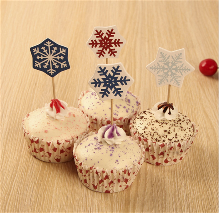 60pcs+2015 Snowflake Paper Cake Cup mold Cupcake Liner Decor,Muffin Case/Holder Chocolate Bake Mold (Surrounding Edge+Mini Card)(China (Mainland))