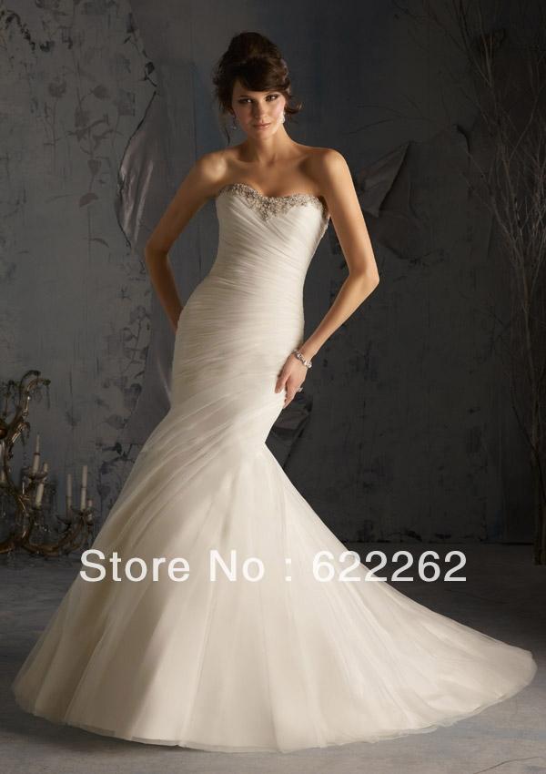 Affordable Mermaid Style Wedding Dresses : Vintage style mermaid sweetheart sweep train white organza