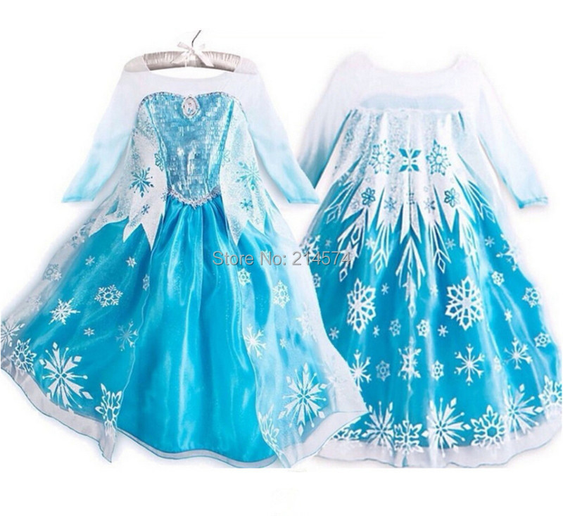 2015 La Reine des Neiges Dress Girl Costumes Ropa de Ninas Princess Party Dress Robe Fille Enfant Kids Clothing Vetement Enfant(China (Mainland))