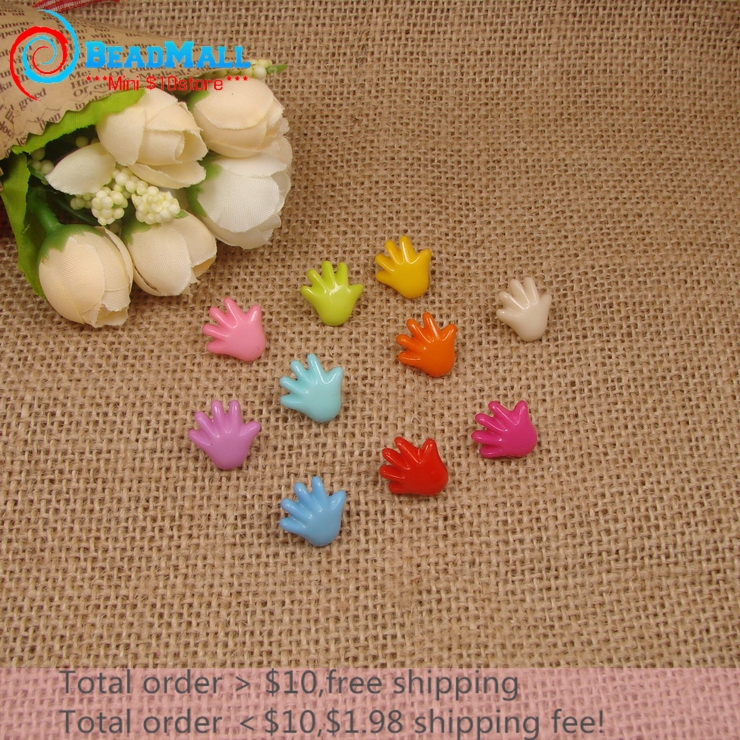 Min Order $10 Free Shipping!200pcs 14*14mm 1 hole Button Mix color Palm Colorful Resin Craft Scrapbooking Accessories DIY065(China (Mainland))