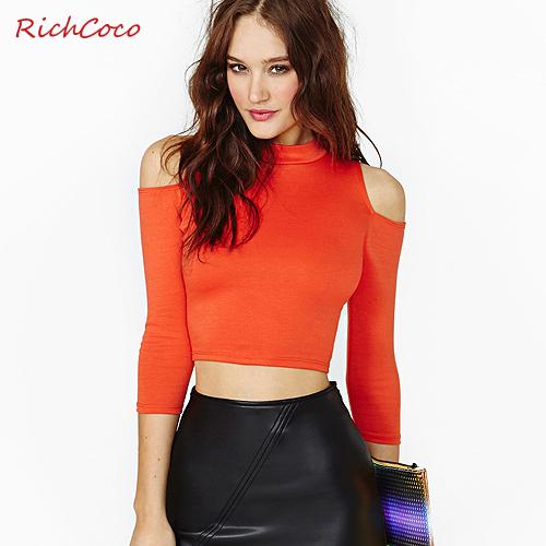 2016 normic fashion elastic tight-fitting bare midriff strapless three quarter sleeve turtleneck short design basic shirt(China (Mainland))