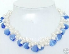 Charming design 2 Row Twist White Freshwater Pearl & Blue Opal necklace fashion jewelry,gift free shipping(China (Mainland))