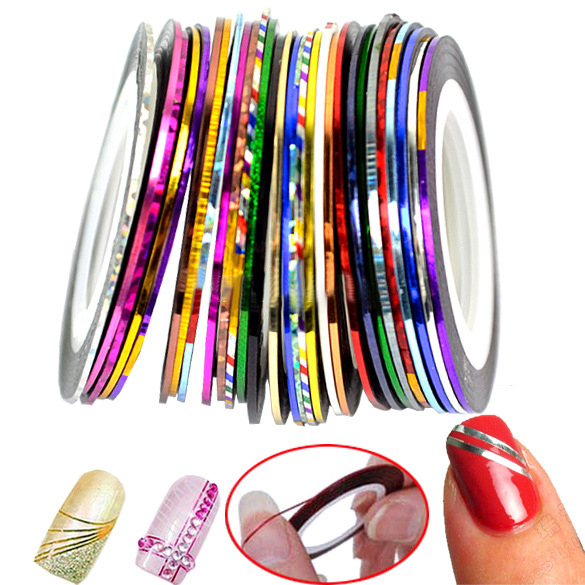 31Pcs Mixed Colorful Beauty Rolls Striping Decals Foil Tips Tape Line DIY Design Nail Art Stickers Nail Tools Decorations JH014(China (Mainland))