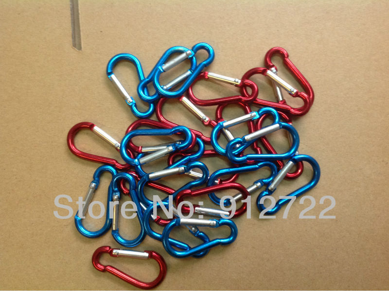 mixed colors 100 pcs New Style Aluminum Camp Snap Hook Carabiner Keychain Hiking
