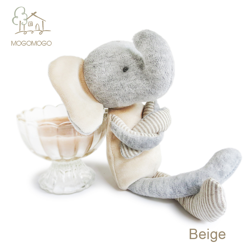 25cm high quality hand-made cute beige elephant plush toys for newborn babies 0-12month-3years, 100% cotton knit(China (Mainland))