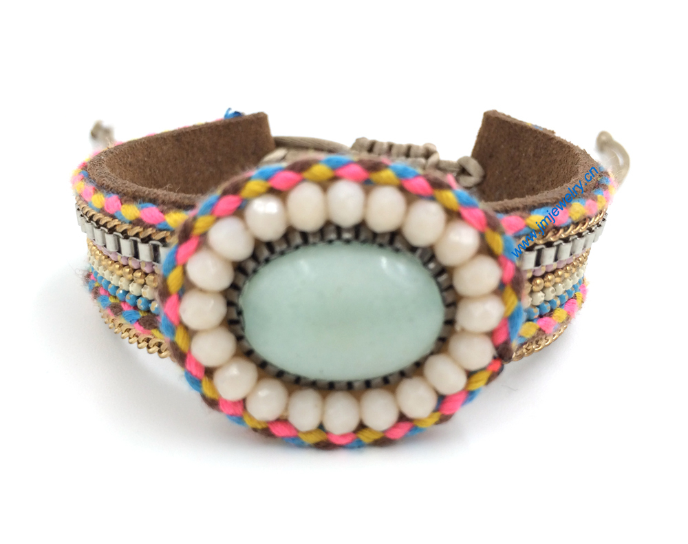 New European Jewelry Suppliers handmade weaving bracelet metal Phosphorus stone bracelet  for women<br>