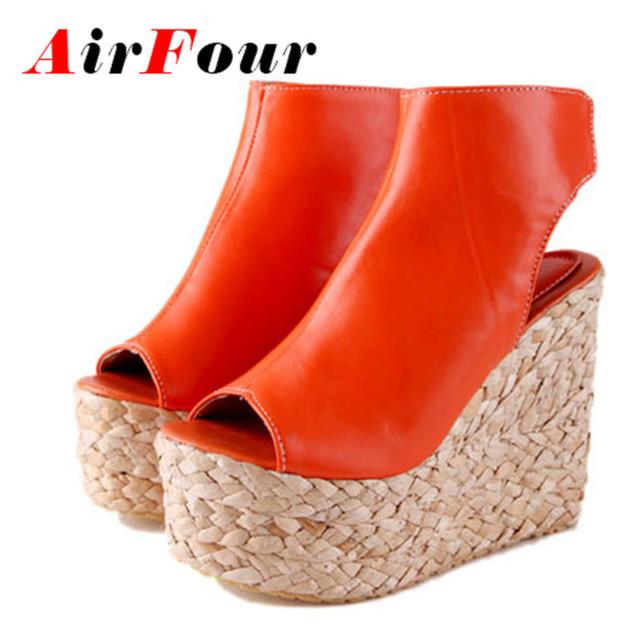 Airfour Hook & Loop Женщины Насосы Клинья Открытым Носком Черные Насосы круглым ...