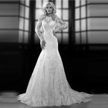 Popular Princess Bridal Gown with Lace Keyhole Back Full Sleeves Organza Mermaid Wedding Dresses 2016 Appliques(China (Mainland))