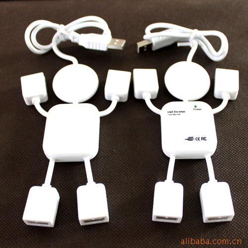 lovely USB hub usbhub 2.0 4 in 1 type A extend socket doll robot man human shape for PC laptop, english package for wholesale(China (Mainland))
