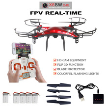 Original packaging X6sw RC Helicopter drone quadcopter With C4005 Wifi Fpv RC Camera drones and 4pcs Batteries GIFT