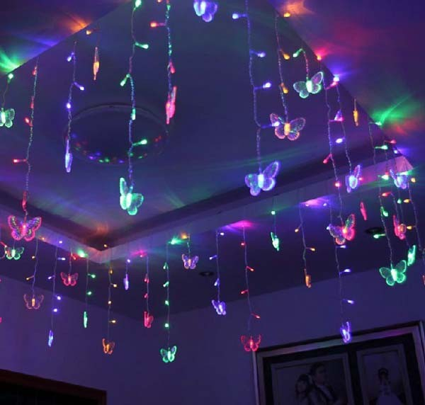 Multi-color 20 Butterfly LED String Strip Festival Holiday Lights 3.5m 100SMD Ice Bar Garland(China (Mainland))