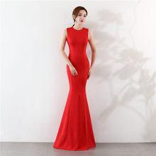 זה Yiiya בת ים שמלת ערב אלגנטי באורך רצפה מוצק ארוך המפלגה שמלת רוכסן חזרה שרוולים O-צוואר סקסי שמלות נשף C096(China)