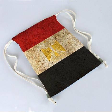 Retro Egypt Flag Three Color Fashionable Travel Bag Softback Mochila Harajuku Unisex Canvas Drawstring Bag 30x40cm Two Sides(China (Mainland))