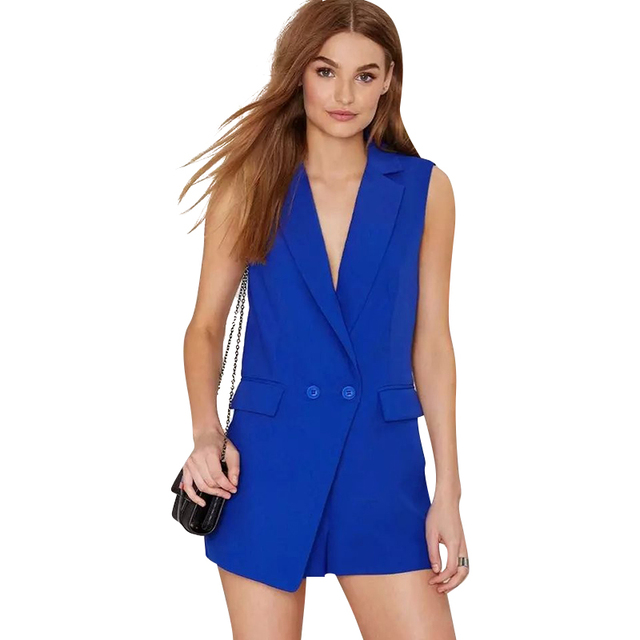 LF196 Жилет куртка Комбинезоны для женщин Мода кнопка Карман Жилета без рукавов синий ...